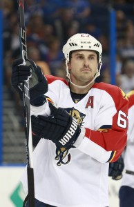Sep 25, 2015; Tampa, FL, USA; Florida Panthers center Dave Bolland (63) during the second period at Amalie Arena. Mandatory Credit: Kim Klement-USA TODAY Sports