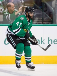 Oct 13, 2016; Dallas, TX, USA; Dallas Stars defenseman Johnny Oduya (47) in action during the game against the Anaheim Ducks at the American Airlines Center. The Stars defeat the Ducks 4-2. Mandatory Credit: Jerome Miron-USA TODAY Sports