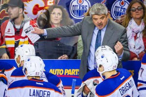 Oct 14, 2016; Calgary, Alberta, CAN; Edmonton Oilers head coach Todd McLellan on his bench against Calgary Flames during the third period at Scotiabank Saddledome. Edmonton Oilers won 5-3. Mandatory Credit: Sergei Belski-USA TODAY Sports