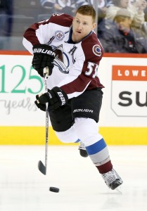 Mar 12, 2016; Winnipeg, Manitoba, CAN; Colorado Avalanche left wing Cody McLeod (55) takes a shot on net prior to the game against the Winnipeg Jets at MTS Centre. Mandatory Credit: Bruce Fedyck-USA TODAY Sports