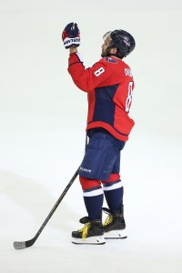 Jan 1, 2017; Washington, DC, USA; Washington Capitals left wing Alex Ovechkin (8) waves to the fans after defeating the Ottawa Senators 2-1 at Verizon Center. Mandatory Credit: Amber Searls-USA TODAY Sports