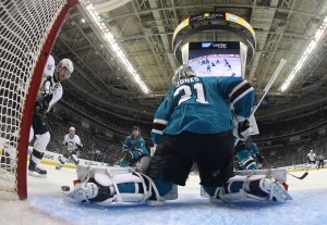 Jun 12, 2016; San Jose, CA, USA; San Jose Sharks goalie <a rel=