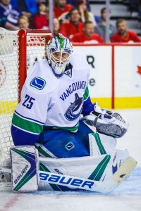 Dec 23, 2016; Calgary, Alberta, CAN; Vancouver Canucks goalie Jacob Markstrom (25) guards his net against the Calgary Flames during the second period at Scotiabank Saddledome. Mandatory Credit: Sergei Belski-USA TODAY Sports