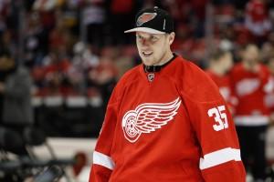 Apr 9, 2017; Detroit, MI, USA; Detroit Red Wings goalie <a rel=