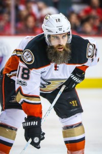 Apr 17, 2017; Calgary, Alberta, CAN; Anaheim Ducks right wing Patrick Eaves (18) during the third period against the Calgary Flames in game three of the first round of the 2017 Stanley Cup Playoffs at Scotiabank Saddledome. Mandatory Credit: Sergei Belski-USA TODAY Sports