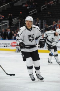 Mar 20, 2017; Edmonton, Alberta, CAN; Los Angeles Kings right winger Jarome Iginla (88) is seen out on the ice during the pre game warm-up as they get set to play against the Edmonton Oilers before the first period at Rogers Place.  Mandatory Credit: Walter Tychnowicz-USA TODAY Sports