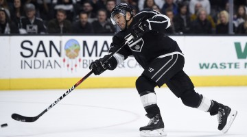 Mar 9, 2017; Los Angeles, CA, USA; Los Angeles Kings right wing Jarome Iginla (88) attempts a shot against the Nashville Predators during overtime at Staples Center. The Kings won 3-2 in overtime. Mandatory Credit: Kelvin Kuo-USA TODAY Sports