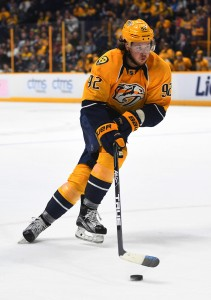 Nov 25, 2016; Nashville, TN, USA; Nashville Predators center Ryan Johansen (92) skates toward the net during the third period against the Winnipeg Jets at Bridgestone Arena. The Predators won 5-1. Mandatory Credit: Christopher Hanewinckel-USA TODAY Sports