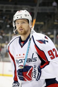 Jan 16, 2017; Pittsburgh, PA, USA; Washington Capitals center Evgeny Kuznetsov (92) skates before playing the Pittsburgh Penguins at the PPG PAINTS Arena. Mandatory Credit: Charles LeClaire-USA TODAY Sports