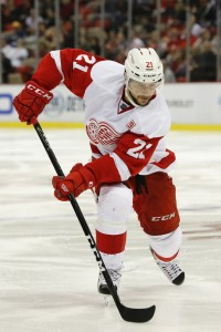 Oct 21, 2016; Detroit, MI, USA; Detroit Red Wings left wing Tomas Tatar (21) skates with the puck in the third period against Nashville Predators at Joe Louis Arena. Detroit won 5-3. Mandatory Credit: Rick Osentoski-USA TODAY Sports