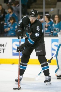 Apr 6, 2017; San Jose, CA, USA; San Jose Sharks center Tomas Hertl (48) warms up before the game against the Edmonton Oilers at SAP Center at San Jose. The Edmonton Oilers defeated the San Jose Sharks 4-2.  Mandatory Credit: Stan Szeto-USA TODAY Sports