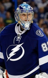 Mar 9, 2017; Tampa, FL, USA; Tampa Bay Lightning goalie Andrei Vasilevskiy (88) against the Minnesota Wild during the second period at Amalie Arena. Mandatory Credit: Kim Klement-USA TODAY Sports