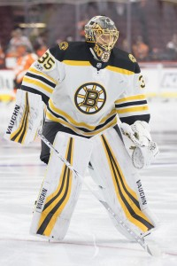 Dec 2, 2017; Philadelphia, PA, USA; Boston Bruins goalie Anton Khudobin (35) warms up against the Philadelphia Flyers at Wells Fargo Center. Mandatory Credit: Bill Streicher-USA TODAY Sports