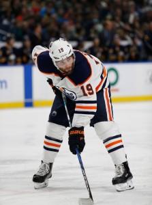 Nov 24, 2017; Buffalo, NY, USA; Edmonton Oilers left wing Patrick Maroon (19) against the Buffalo Sabres at KeyBank Center. Buffalo beats Edmonton 3 to 1. Mandatory Credit: Timothy T. Ludwig-USA TODAY Sports